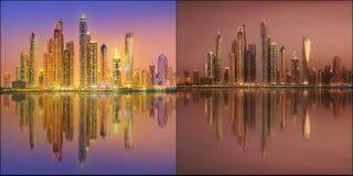 Piękny pejzaż miejski ustawiający i kolaż Dubaj Obrazy Royalty Free