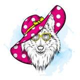 Piękny pies w lato kapeluszu, szkłach i collie Purebred szczeniak Wektorowa ilustracja dla pocztówki lub plakata royalty ilustracja