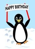 Piękny pingwin chodzi nad śnieżystym samolotem z wszystkiego najlepszego z okazji urodzin sztandarem, przyjęcie urodzinowe dla dz royalty ilustracja