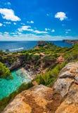 Piękny plażowy Majorca Mallorca Cala des Moro Hiszpania morze śródziemnomorskie obrazy royalty free