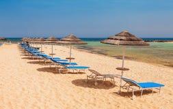 Piękny plażowy Nissi Greco w Ayia Napa i Cavo blisko, Cypr wyspa, morze śródziemnomorskie obraz royalty free