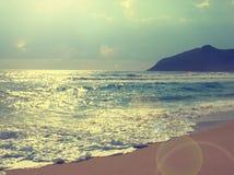 Piękny plażowy retro film tonujący obraz stock