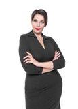 Piękny plus wielkościowa kobieta w czerni smokingowy pozować Zdjęcia Stock