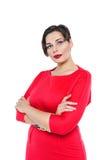 Piękny plus wielkościowa kobieta w czerwieni sukni Zdjęcia Royalty Free