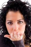 piękny podmuchowy żeński buziak Fotografia Stock