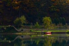 Piękny podwórze na wybrzeżu jezioro zdjęcia royalty free