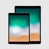 Piękny pojęcie 2 sklejonej czarnej pastylki z barwionym parawanowym pokazem, wektorowa ilości ilustracja zdjęcia stock
