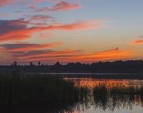 Piękny pomarańczowy zmierzchu niebo nad rzeką z traw płochami Obraz Royalty Free