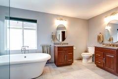 Piękny popielaty nowy luksusowy nowożytny łazienki wnętrze. zdjęcia royalty free