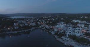 Piękny powietrzny wideo półmroku wieczór w Dalmatia, Chorwacja, Europa zbiory wideo