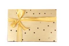 piękny pudełkowaty prezent złoty obraz royalty free