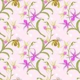 Piękny purpurowy storczykowy bezszwowy wzór ilustracji