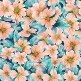 Piękny różany biodro kwitnie z liśćmi w bezszwowym wzorze kolorowe kwiecisty tła adobe korekcj wysokiego obrazu photoshop ilości  royalty ilustracja