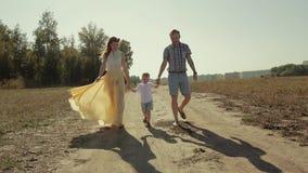 Piękny rodzinny odprowadzenie outdoors trzyma ręki zbiory