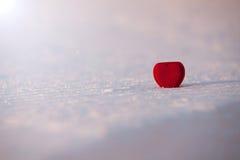 Piękny romantyczny czerwony serca pudełko na białym śniegu Obraz Royalty Free