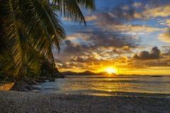 Piękny romantyczny zmierzch na raj plaży przy anse surowym, losu angeles d Zdjęcia Royalty Free