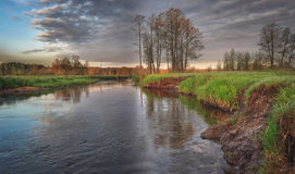 Piękny rzeka krajobraz na dzikim letnim dniu z drzewami i zieloną trawą na horyzoncie Obrazy Royalty Free