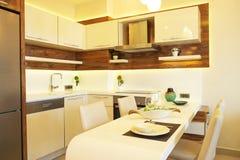 Piękny słońce strony mieszkanie z prostym minimalistic nowożytnym wewnętrznym projektem, otwiera planu kuchennego żywego pokój w  Obraz Stock