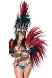 Piękny samba tancerza portret, odizolowywający na bielu Zdjęcia Royalty Free
