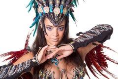 Piękny samba tancerza portret, odizolowywający na bielu Zdjęcia Stock