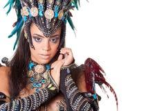 Piękny samba tancerza portret, odizolowywający na bielu Fotografia Royalty Free
