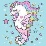 Piękny seahorse wśród gwiazd jednorożec wektor ilustracji