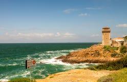 Piękny seascape Calafuria, Leghorn - Włochy Obrazy Royalty Free