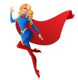 Piękny seksowny bohater kobiety latanie i falowanie ręka również zwrócić corel ilustracji wektora Fotografia Royalty Free