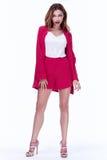 Piękny seksowny brunetki kobiety biznesowego biura stylu mody zakrzep fotografia royalty free