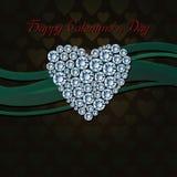 Piękny serce biali diamenty Zdjęcia Royalty Free