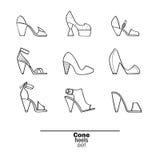 Piękny set odosobniony na tło płaskich butach wręcza patroszonego w eleganckiej kolekci szyszkowe pięty Mody ilustraci lepidło Zdjęcie Stock