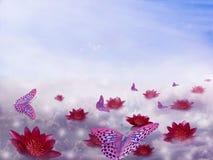 Piękny skład chmury, kwiaty i motyle na błękitnym tle z bezpłatną przestrzenią dla teksta, ilustracja wektor