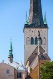Piękny St Olaf Oleviste kościół w Starym miasteczku Tallinn, Estonia przy latem Zdjęcie Stock