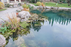 Piękny staw z błękitne wody w egzotycznym parku Obrazy Stock
