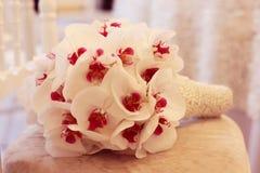 Piękny storczykowy ślubny bukiet dekoraci przygotowania kwiat Fotografia Stock