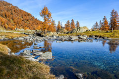 Piękny strumień na górze z niebieskim niebem, czerwonymi drzewami w jesieni i starym mostem, Zdjęcia Royalty Free