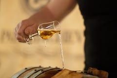 Piękny strumień w szkło whisky Obrazy Stock