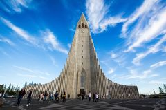 Piękny strzał Hallgrimskirkja w reykjavÃk fotografia royalty free