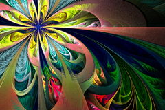 Piękny stubarwny fractal kwiat Kolekcja - mroźny patte ilustracji