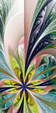 Piękny stubarwny fractal kwiat Kolekcja - mroźny patte ilustracja wektor