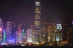 Piękny super szeroki kąta lata widok z lotu ptaka Hong Kong wyspy linia horyzontu, Wiktoria zatoki schronienie z drapaczami chmur Obrazy Stock