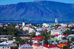 Piękny super szeroki kąta widok z lotu ptaka Reykjavik, Iceland dowcip Zdjęcia Stock