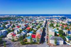 Piękny super szeroki kąta widok z lotu ptaka Reykjavik, Iceland dowcip Fotografia Royalty Free