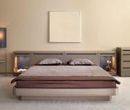 piękny sypialni projekta wnętrze nowożytny Obrazy Stock