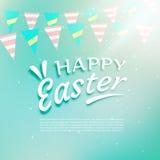 Piękny szczęśliwy Easter tło z świętowanie girlandami Zdjęcie Royalty Free