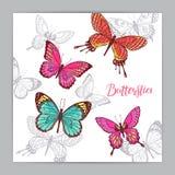Piękny tło kolorowi motyle royalty ilustracja