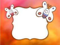 Piękny tło z cartooned motylami i biel etykietka dla teksta lub fotografii ilustracji