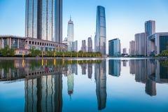 Piękny Tianjin pejzaż miejski przy półmrokiem Obraz Stock
