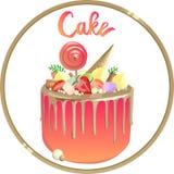 Piękny tort z złocistymi polewami i różową śmietanką Logo dla piekarni ilustracji