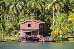 Piękny tropikalny miejsce z zielonymi kokosowymi drzewkami palmowymi i jezioro wodą w Tajlandia obrazy royalty free